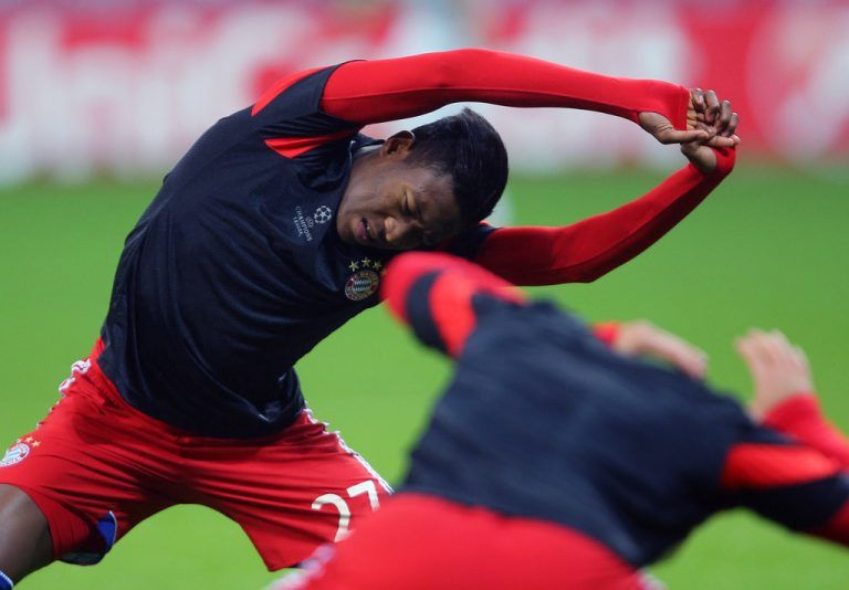 MUNICH,GERMANY,05.NOV.14 - SOCCER - UEFA Champions League, group stage, FC Bayern Muenchen vs AS Roma. Image shows David Alaba (Bayern) during warm-up. Photo: GEPA pictures/ Thomas Bachun