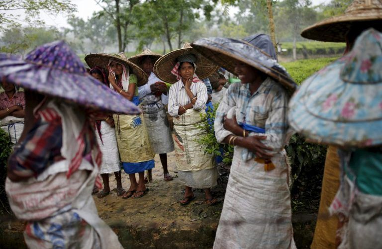 Tea garden workers wearing jappi hats made out of bamboo and palm leaves wait for the rain to stop to resume their work inside Aideobarie Tea Estate in Jorhat in Assam, India, April 21, 2015. Unrest is brewing among Assam's so-called Tea Tribes as changing weather patterns upset the economics of the industry. Scientists say climate change is to blame for uneven rainfall that is cutting yields and lifting costs for tea firms. Picture taken April 21, 2015. REUTERS/Ahmad Masood TPX IMAGES OF THE DAY