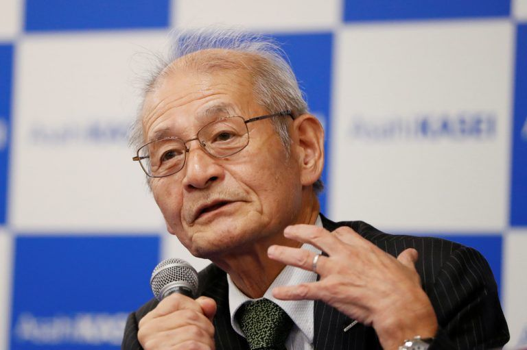 Asahi Kasei honorary fellow Akira Yoshino, 2019 Nobel Prize in Chemistry winner, speaks during a news conference in Tokyo, Japan October 9, 2019. REUTERS/Issei Kato