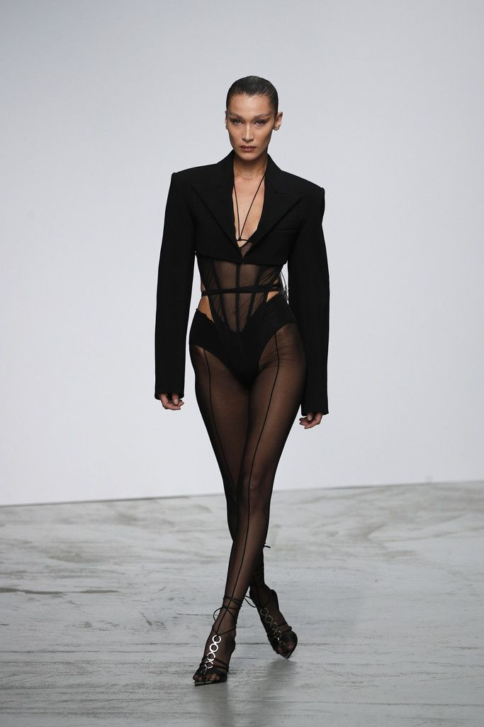 Model Bella Hadid wears a creation as part of the Mugler Ready To Wear Spring-Summer 2020 collection, unveiled during the fashion week, in Paris, Wednesday, Sept. 25, 2019. (AP Photo/Francois Mori)