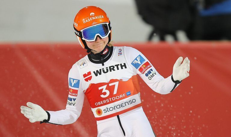 OBERSTDORF,GERMANY,25.FEB.21 - NORDIC SKIING, SKI JUMPING - FIS Nordic World Ski Championships, normal hill, ladies. Image shows the disappointment of Marita Kramer (AUT). Photo: GEPA pictures/ Thomas Bachun