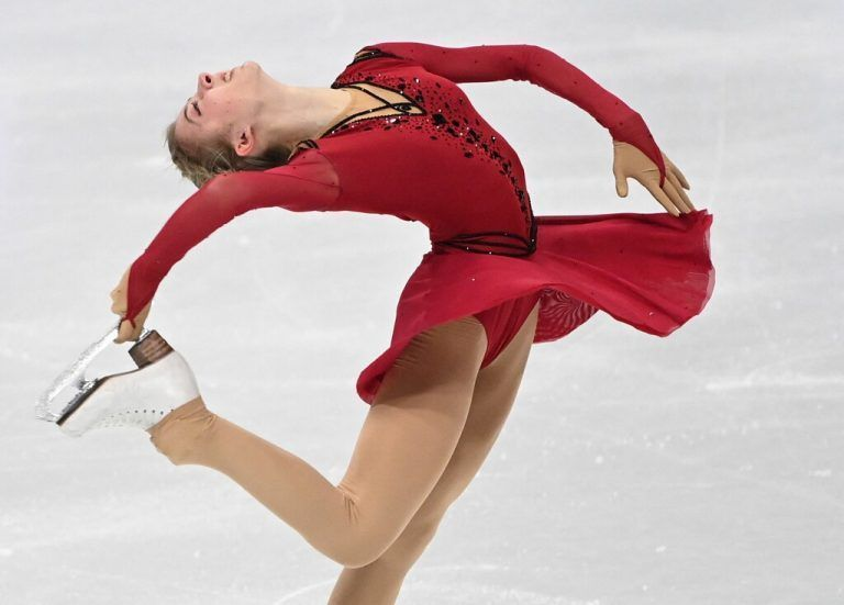 Austria's Olga Mikutina performs during the ladies' free event at the ISU World Figure Skating Championships in Stockholm on March 26, 2021. (Photo by Jonathan NACKSTRAND / AFP)